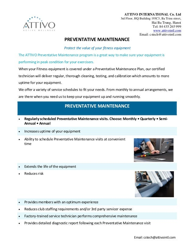 preventive equipment maintenance is an example of