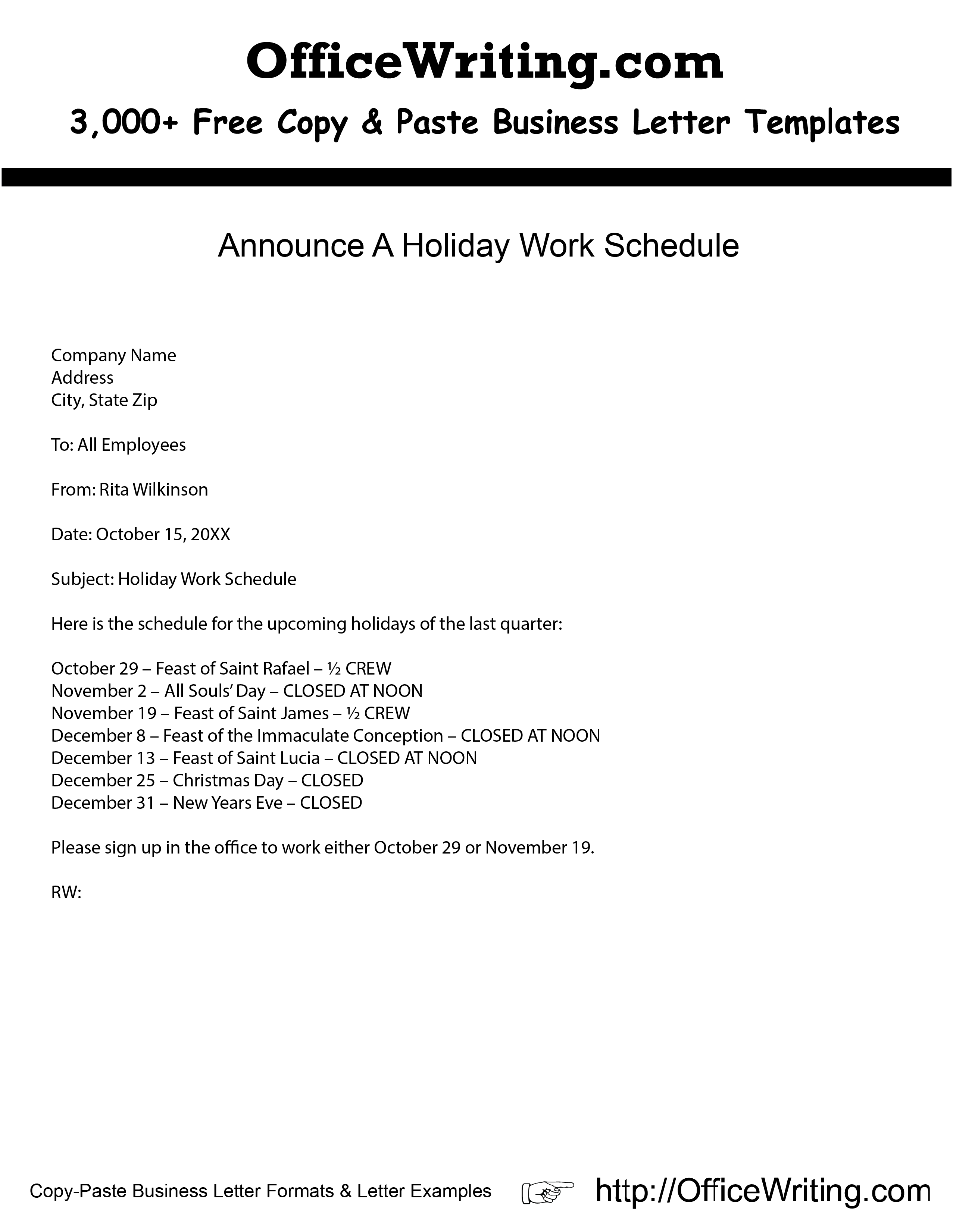 email to staff about christmas shutdown example