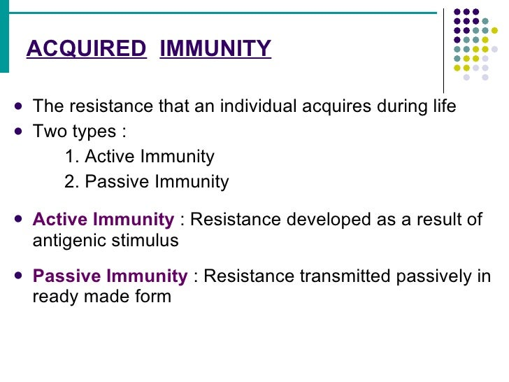 an example of active acquired immunity would be