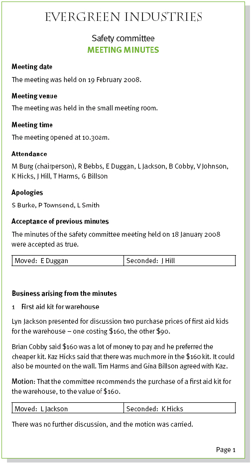 example of notes from a meeting