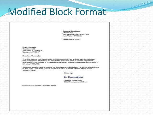 modified block letter format example