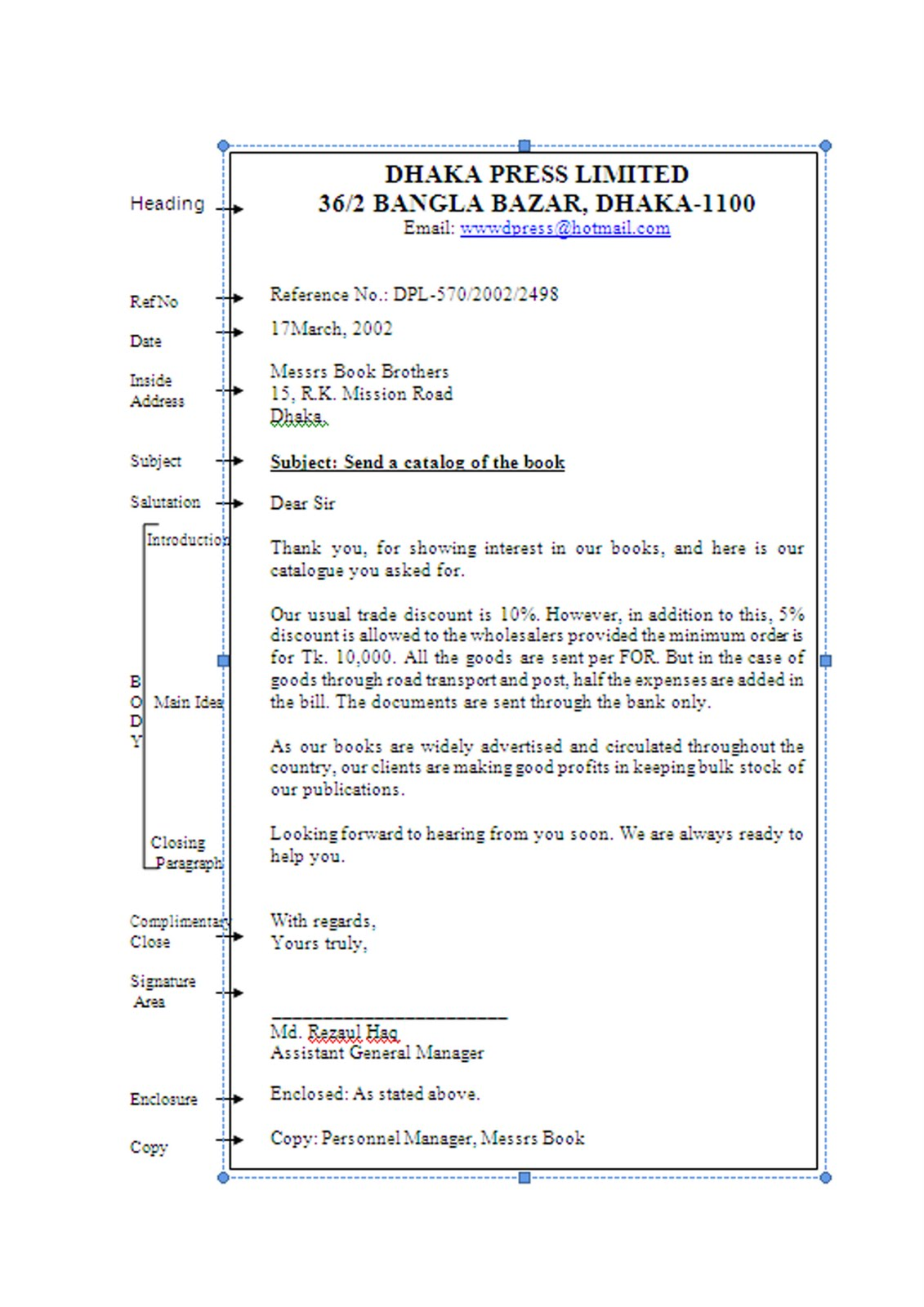 parts of business letter and example