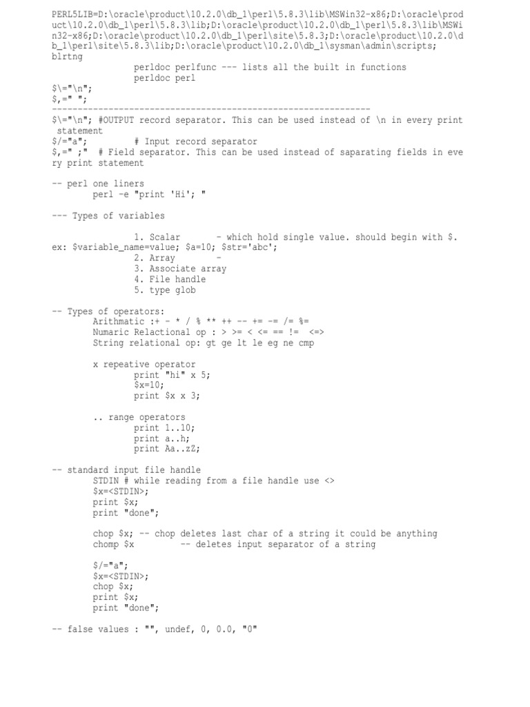 perl for loop next example